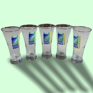 5x 2003 Rugby World Cup Collectible Glasses